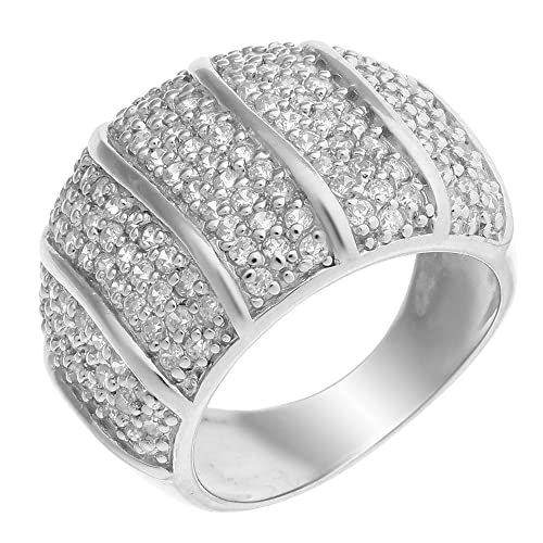 ORPHELIA Women's Ring 925 Sterling Silver Rhodium-Plated Round Cut CZ R-1212 White silver