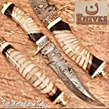 NoonKnives: Hand Made Damascus Steel Collectible Bowie Knife Handle Camel Bone with Bull Horn (Black and White) (Color: Black and White)