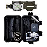 Survival Gear Kit 11 in 1, Tianers Professional Outdoor Emergency Survival Tool with Military Compass, Survival Knife, Saber Card, Fire Starter, Whistle, Tactical Pen for Travel Hike Field Camp (Color: Set-1)