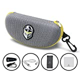 BLUPOND Semi Hard EVA Large Glasses Case with Hanging Hook 5 IN 1 Set for Sports Sunglasses
