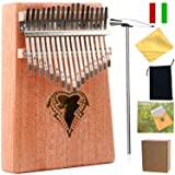 Thumb Piano Ranch Kalimba 17 keys Finger Mbira with Online 6 Free Lessons Solid Wood Mahogany Christmas Gifts with Bag/Carved Notation/Tune Hammer - Love Heart (Color: Love Heart)