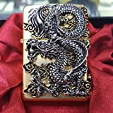 [Zippo] Flying Dragon Gold Lighter / Genuine Authentic / Original Packing (6 Flints set Free Gift) (Color: Gold)