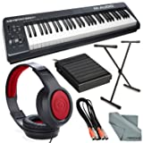 M-Audio Keystation 61 II MIDI Keyboard Controller and Platinum Bundle w/ Keyboard Sustain Pedal & Stand, Headphones, Dual MIDI Cable, Fibertique Cloth