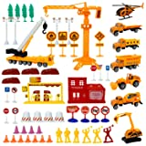 Liberty Imports Engineering Construction Site Pretend Play Toy Set in Bucket | Variety Pack with Diecast Cars, Trucks, Equipment Vehicles, Figures, Signs, Cones, and Accessories (Color: Multicolored)