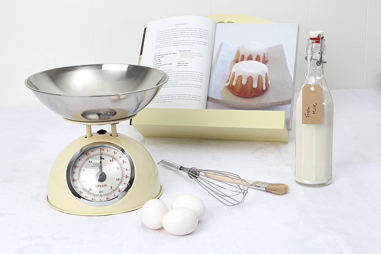 Dexam Retro Kitchen Scales In Cream - 2L Stainless Steel Bowl - Weighs Up To 5Kg 2