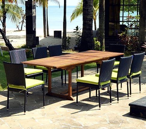 Set da giardino, 10 posti, tavola in teak oliato, 8 sedie e in resina intrecciata