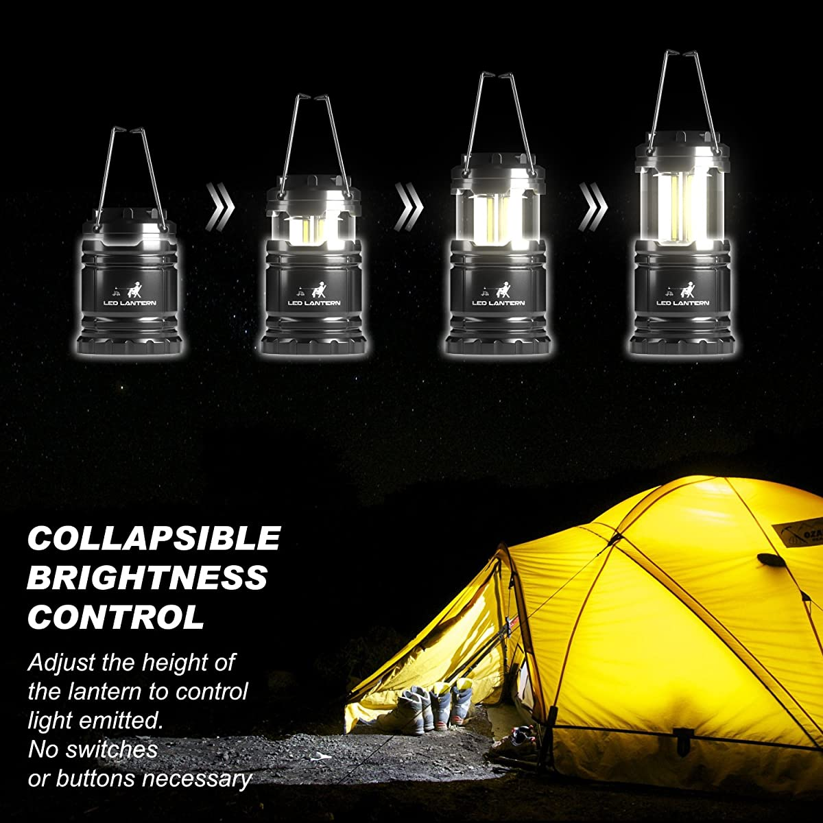MalloMe LED Camping Lantern Flashlights 2 Pack - SUPER BRIGHT - 350 Lumen Portable Outdoor Lights with 6 AA Batteries (Black, Collapsible)