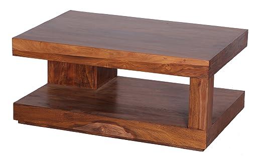 Wohnling–Mesa de café (Madera Maciza De Madera Sheesham 90cm de ancho Salón de mesa diseño marrón oscuro rústico estilo de mesa auxiliar de naturaleza del Salón Muebles único Modern