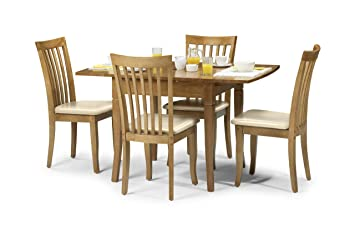 SOLID MAPLE FINISH NEWBURY EXTENDABLE DINING TABLE WITH 4 CREAM PADDED CHAIRS