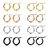 Jstyle 8 Pairs Stainless Steel Hoop Earrings for Women Mens Twisted Small Hoop Earrings Ear Piercing Set 10mm (Color: A:(8 Pairs))