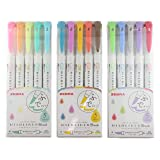 <New>Zebra Mildliner Brush pen set, 15 Pastel Color set with MIYABI stationery store original gift package(WFT8-5C/NC/RC)