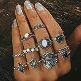 Setita 10 Pieces Stylish Black Stone Retro Arrow Feather Joint Knuckle Nail Midi Ring Set Boho Ring Set (Ancient Silver) (Color: Ancient silver)
