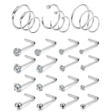 FIBO STEEL 25Pcs 20G Stainless Steel Hoop Nose Rings Screw Stud Rings Piercing Jewelry Colored CZ Inlaid Silver-Tone (Color: E: 25 silver-tone)
