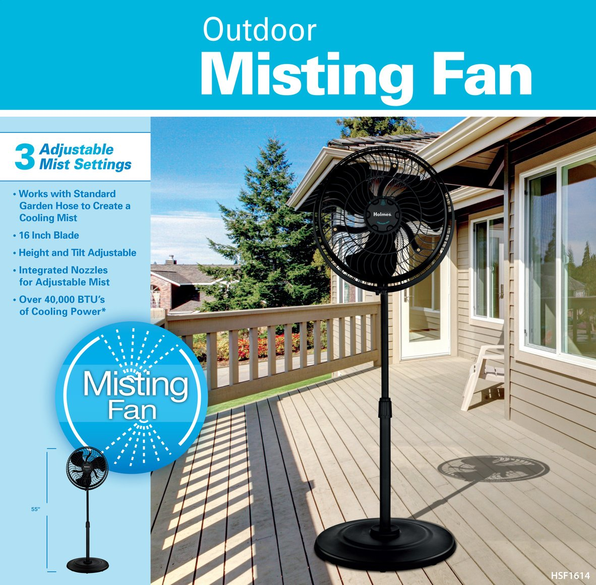 """Holmes Group HSF1614-BLU 3-Speed Outdoor Misting Stand Fan, 16"""", Black"""
