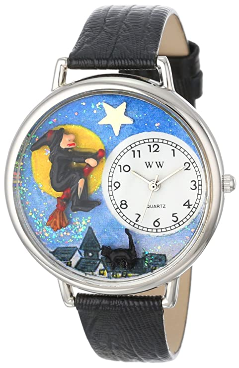 Halloween Flying Witch Black Skin Leather Watch