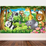 Blulu Safari Animals Decorations, Extra Large Fabric Jungle Safari Backdrop Banner for Jungle Theme Party Supplies, Jungle Safari Animals Backdrop Photography Background -72.8 x 43.3 inch