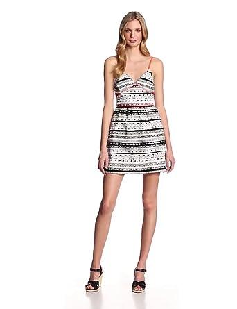 DV by Dolce Vita Women's Roxeann Cut Out Jungle Stripe Dress, Black/White, X-Small