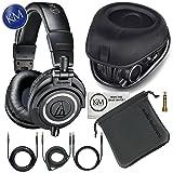 Audio-Technica ATH-M50x Professional Monitor Headphones + Slappa Full Sized HardBody PRO Headphone Case (SL-HP-07) (Color: Black)