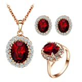 Yoursfs Ruby Jewelry Set For Women Pendant Necklace & Stud Earrings & Rings Set 18K Rose GP Wedding Sets Cocktail