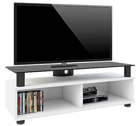 VCM Clunis - Mueble de TV de clase superior, 95 cm, plancha superior de cristal de color negro, barniz de color blanco