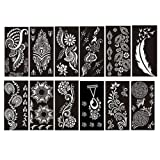 PACK of 12 Sheets Self-adhesive Tattoo Stencils Template for Henna Tattoo Body Art Painting Glitter Tattoos Airbrush Tattoo