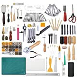 366 Pieces Leathercraft Tools Kit, Dorhui Leather Working Tools and Supplies, Leather Craft Stamping Tools, Prong Punch, Hole Hollow Punch, Matting Cut for DIY Leather Artworks