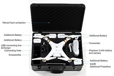 Koozam NOUVEAU DJI Phantom 3 HardCase conçu pour adapter à la Phantom 3 Professional , avancée , et le DJI PHANTOM de Standard Edition Drone 3 , Convient modèles Autres DJI ainsi (Noir)