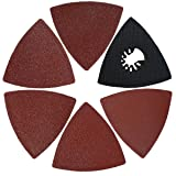 XXGO 26 Pcs Triangle Hook & Loop 3-1/8 Inch 60/80 / 100/120 / 240 Grits Oscillating Multi Tool Grits Abrasive Sandpaper and Triangular Sanding Pads Sets (Color: Red / Black, Tamaño: 26 - Piece)