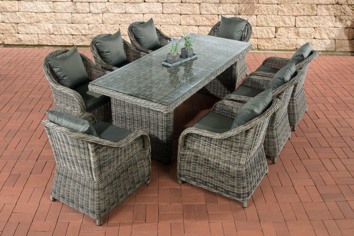 CLP Polyrattan Sitzgruppe LAVELLO XL grau-meliert, Tisch 200 x 90 cm + 8 Sessel inkl. Sitz- und Rückenkissen grau-meliert, Bezugfarbe anthrazit