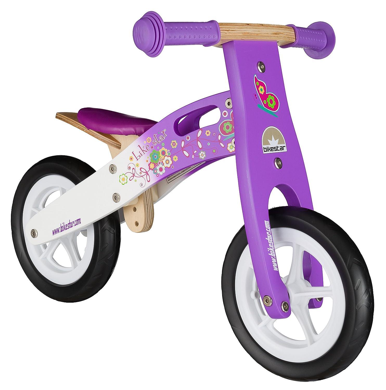BIKESTAR® Premium Kinderlaufrad für kleine Abenteurer ab 2 Jahren ★ 10er Natur Holz Edition ★ Candy Lila & Traumhaft Weiß günstig bestellen