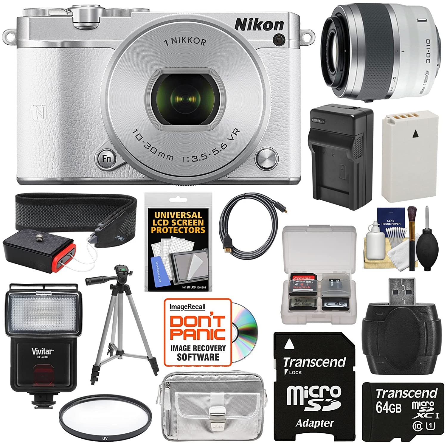 Nikon 1 J5 Wi-Fi Digital Camera & 10-30mm Lens (White) with 30-110mm VR Zoom Lens + 64GB Card + Battery + Charger + Strap + Case + Tripod + Flash + Filter Kit
