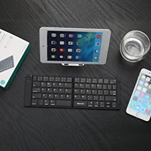 Folding Keyboard, Jelly Comb Ultra Slim Foldable BT Keyboard B047 Rechargeable Pocket Sized Keyboard for All iOS Android Windows Laptop Tablet Smartph
