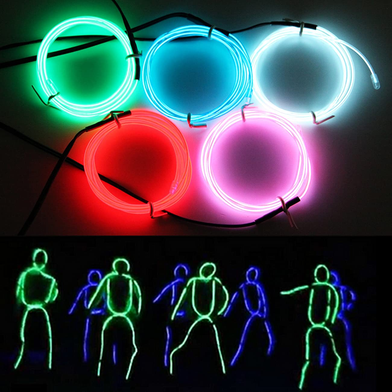 Exlight 5 X 1 Metre Neon Light El Wire- New Drive Electroluminescent Multiple Color-Set of 5(Blue, Green, Red, Pink, and White) 0
