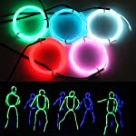 Exlight 5 X 1 Metre Neon Light El Wire- New Drive Electroluminescent Multiple Color-Set of 5(Blue, Green, Red, Pink, and White)