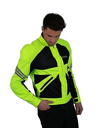 NERVE 1511155026_08 Go Blouson d'Eté Textile Mesh Moto, Noir/Vert Fluo, Taille : 4XL
