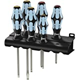 Wera 05032060001 Kraftform Stainless 3334/6 Stainless Steel Slotted/Phillips Screwdriver Set and Rack, 6-Piece (Color: MULTI, Tamaño: Slotted: 6.5x150mm, 3x80mm, 4x100mm, 5.5x125mm. Phillips: PH1x80mm, PH2x100mm)