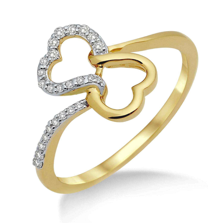 Miore Damen-Ring 750 Gelbgold Herzen und Brillanten MF8017RM