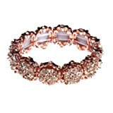 NLCAC Crystal Bracelet Bridal Bangle Bracelet Druzzy Beads Elastic Bracelet for Wedding (rose gold) (Color: rose gold)
