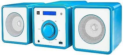 Dual ML 10 Chaîne stéréo avec lecteur CD/MP3, prise USB, radio PLL-FM, fonction enregistrement de radio, prise casque (3,5 mm), fonction Sleep-/Snooze-/alarme et télécommande bleu