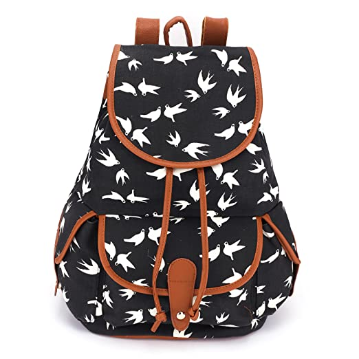 BESTOPE® High Quality & Brand New Vintage Retro Floral Ladies Canvas Bag /School Bag/Backpack (A-Black)