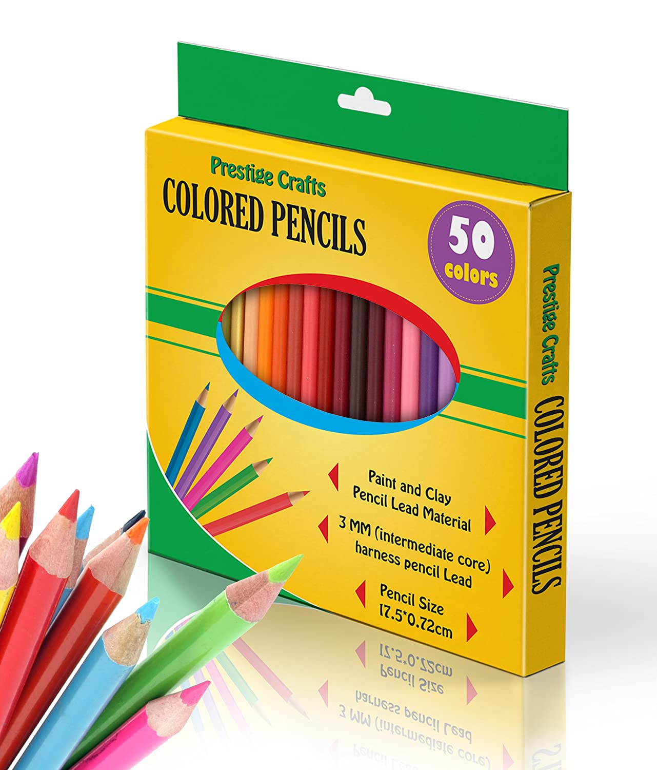 Amazing Colored Pencils Set, by Prestige Crafts! 50 Assorted Colors - Anti Break System - Easy to Erase Lead Material with 3MM Core - Perfect Gift for Adults and Kids - Order Risk Free