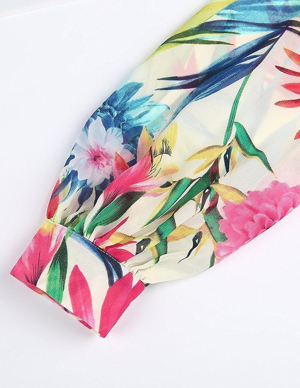 Haoyihui Vintage Style Chiffon V Neck Puff Pleated Wrap Long Maxi Full-Skirted Dress 5