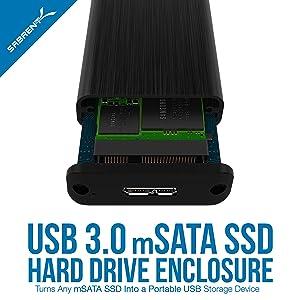 Adaptador Sabrent USB 3.0 mSATA II o III / 6G,  SSD [Soporte UASP] (EC-UKMS)