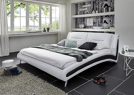SAM® Polsterbett Silva in Weiß / inside schwarz 140 x 200 cm geschwungene Seitenteile chromfarbene Fuße modernes Design Wasserbett geeignet Bett teilz