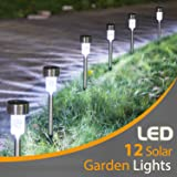 Sunnest 12Pack Solar Lights Outdoor, Outdoor Garden Lights, Solar Pathway Lights, Outdoor Landscape Lighting for Lawn/Patio/Yard/Walkway/Driveway ST-3493 (Stainless Steel) (Color: White)