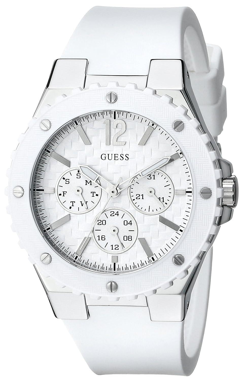 GUESS Women's U10657L1 Carbon-Fiber Inspired White & Silver-Tone Sport Watch: Guess