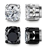 LOYALLOOK Stainless Steel Magnetic Stud Earrings for Men Women Unisex Cubic Zirconia Inlaid 2 Pairs 8MM (Color: B: 2 Pairs 8mm(white+black))