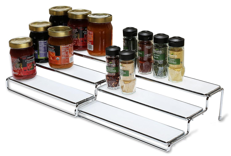 rack step shelf organizer 3 tier expandable cabinet spice. Black Bedroom Furniture Sets. Home Design Ideas