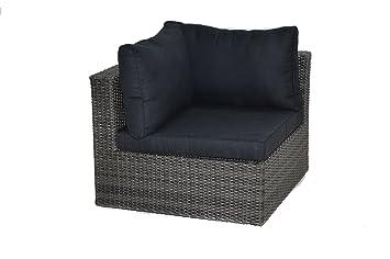 Ploß Rattan-Ecksessel fur Loungeset Swinging - Polyrattan-Eckelement - Lounge Sessel mit Auflage in Anthrazit - Outdoor Gartenmöbel in Grau-Braun - Gartensessel - Loungemöbel fur Terrasse - Lounge-Ecke