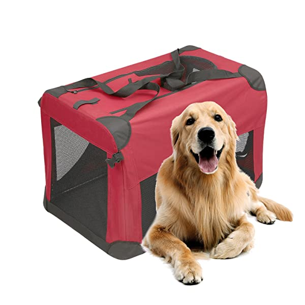 Magshion Portable Crates Kennels Fabric Transport with Sturdy Metal Frame Metal Cages (XXL-40, Burgundy) (Color: Burgundy, Tamaño: XXL-40)